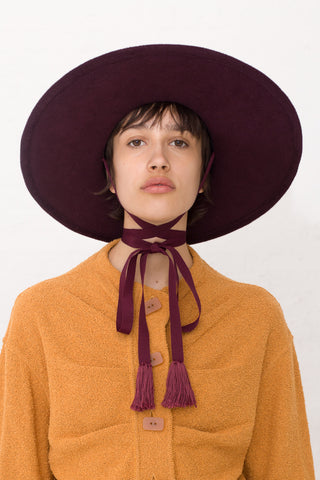 Fedora With Large Brim in Burgundy