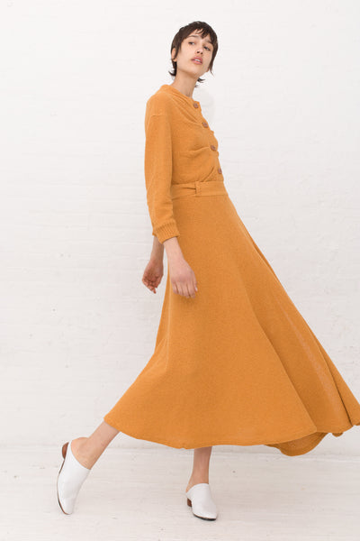 Veronique Leroy Long Knit Wrap Skirt in Color 31 Safran | Oroboro Store | New York, NY