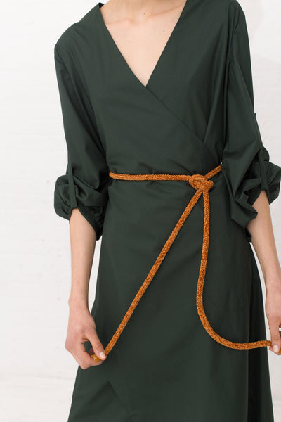 Veronique Leroy Wrap Dress With Tie in Color 77 Bottle Green | Oroboro Store | New York, NY