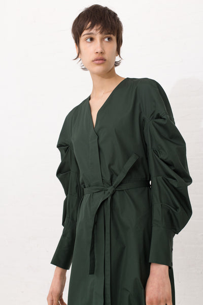 Collarless Dress with Pleated Sleeves in Green | Oroboro Store | New York, NY