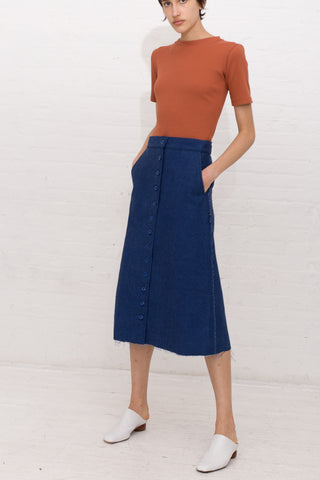 Delfina Balda Arnik Skirt in Dark Denim | Oroboro Store | New York, NY