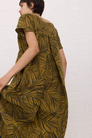 Black Crane Pleated Cocoon Dress in Leaf | Oroboro Store | New York, NY