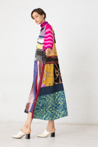 Bettina Bakdal Vintage Scarves Dress in The Pink Patchwork Dress | Oroboro Store | New York, NY
