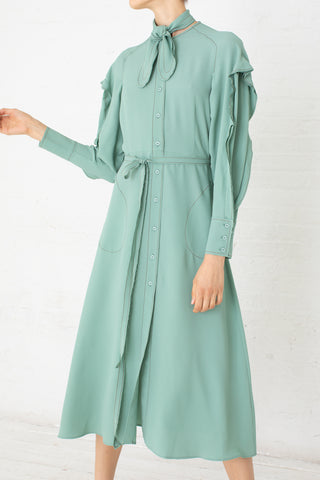 Veronique Leroy Dress in Perse Green  | Oroboro Store | New York, NY