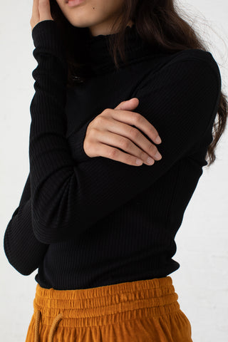 Baserange Puig Turtleneck in Black / Mercerized Cotton | Oroboro Store | New York, NY