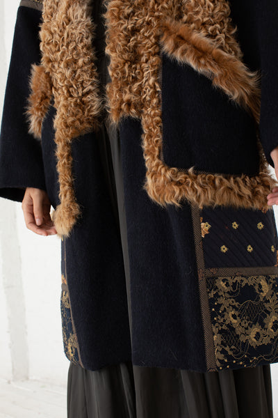 Ulla Johnson Shag Coat in Navy | Oroboro Store | New York, NY