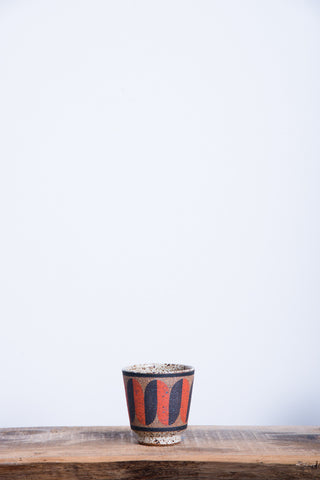 Straight Painted Cup in Black & Orange Squiggle