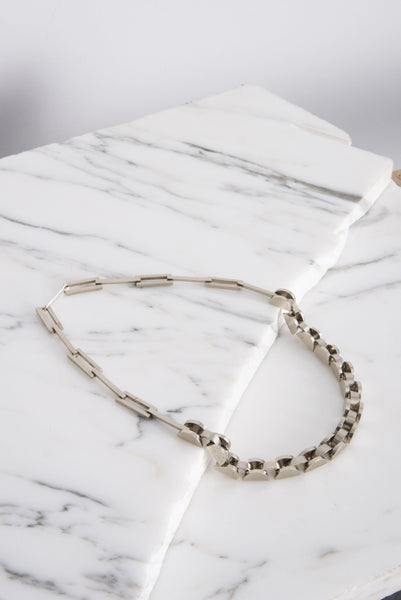 Semi Short Necklace in White Bronze