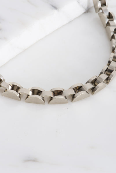 Samma Semi Short Necklace in White Bronze | Oroboro Store | Brooklyn, New York