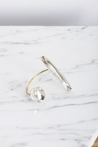 Focus Asymmetrical Cuff in Mixed White Bronze and Brass | Oroboro Store | Brooklyn, New York