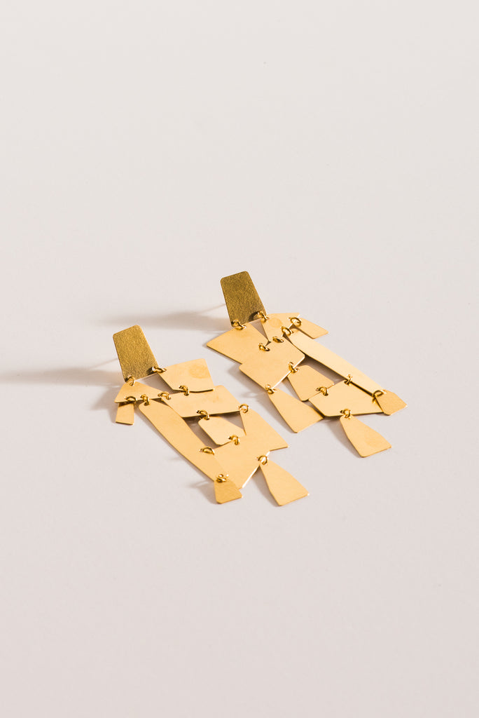 Annie Costello Brown Mika Earrings in Gold | Oroboro Store | New York, NY