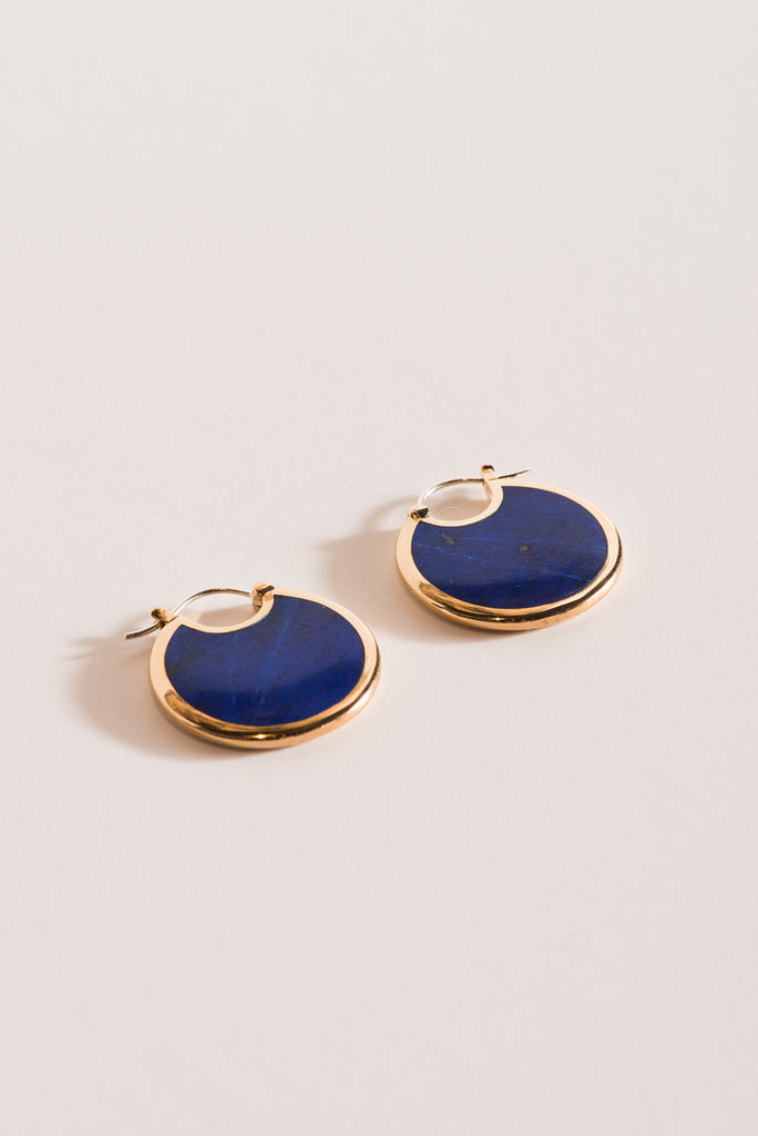 Large Mojave Hoops in Brass with Lapis
