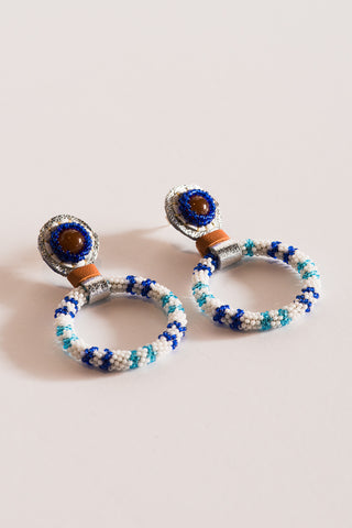 Robin Mollicone Small Beaded Hoop Earring in Carnelian and Blue Stripe | Oroboro Store | New York, NY