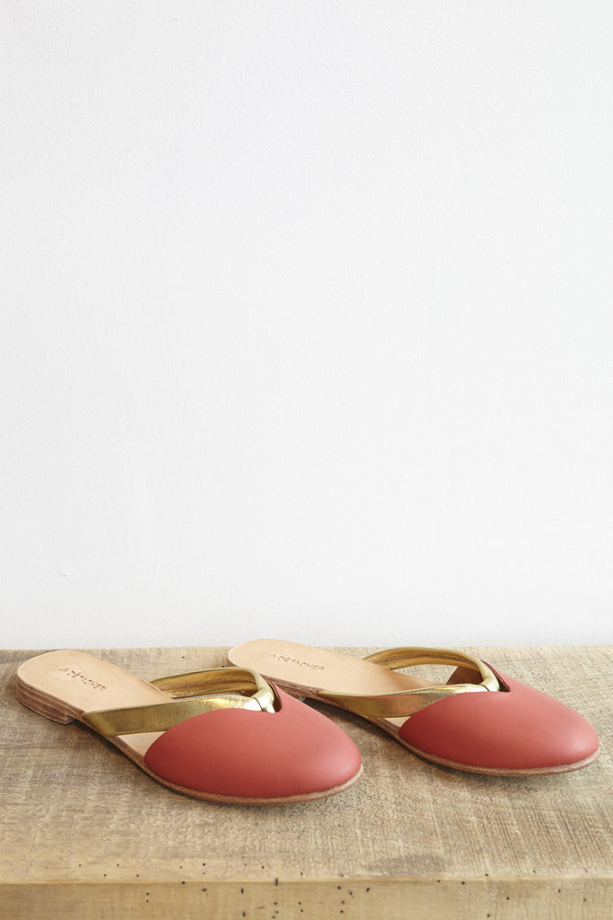A Detacher Joni Sandal in Red/Gold Leather | Oroboro Store | Brooklyn, New York