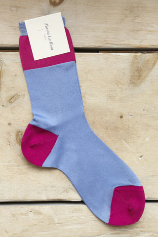 Maria La Rosa Wide Stripe Socks in Peri & Fuschia | Oroboro Store | Brooklyn, New York