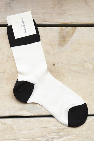 Maria La Rosa Wide Stripe Socks in Ivory & Black | Oroboro Store | Brooklyn, New York