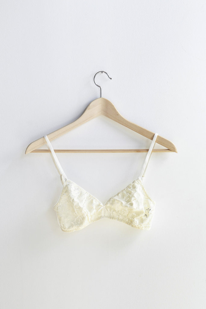Laura Urbinati  Floral Macrame Triangle Bra in Off White | Oroboro Store | Brooklyn, New York