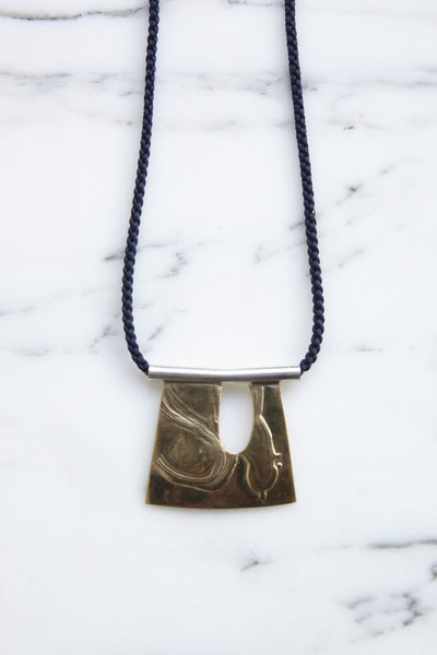 Leigh Miller Brass Indigo Silk Cord Pollock Necklace | Oroboro Store | Brooklyn, New York