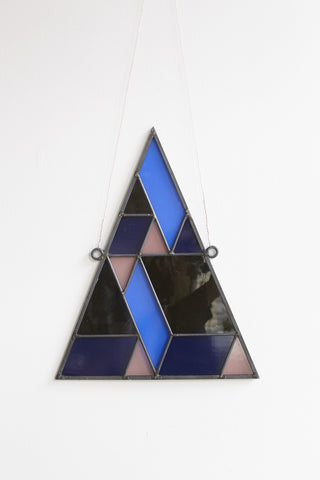 David Scheid Stained Glass Medium Triangle in Blue, Brown & Pink | Oroboro Store | Brooklyn, New York