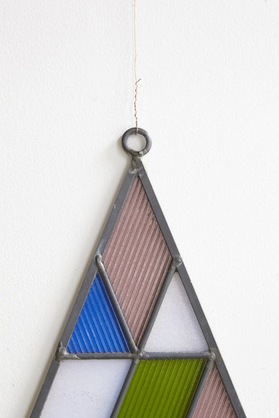 David Scheid Stained Glass Small Triangle in Blue, Green, Pink & White | Oroboro Store | Brooklyn, New York
