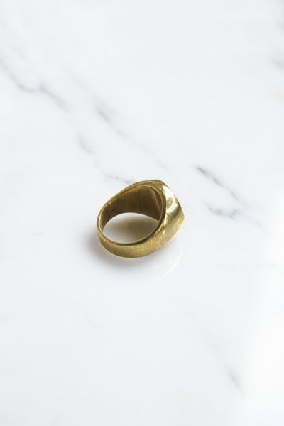 Legier Brass Round Signet Ring with Lapis Lazuli | Oroboro Store | Brooklyn, New York
