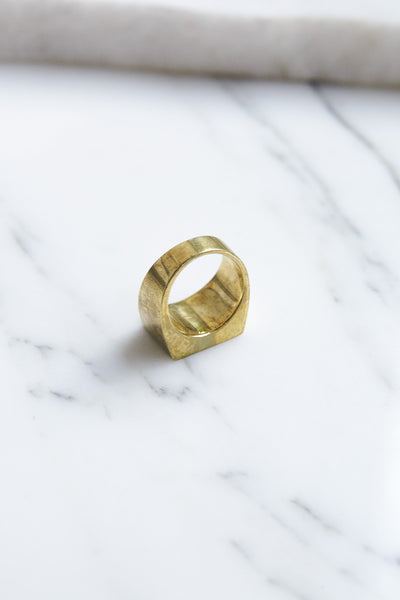 Legier Brass Signet Ring with Abalone Shell | Oroboro Store | Brooklyn, New York