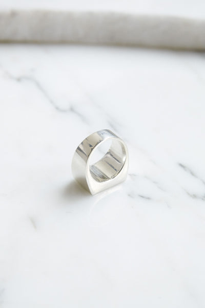 Legier Silver Signet Ring with White Turquoise | Oroboro store | Brooklyn, New York