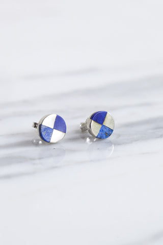 Ursa Major Ray Studs in Silver & Lapis | Oroboro Store | Brooklyn, New York