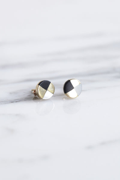 Ursa Major Ray Studs in Gold with Jet & Mother of Pearl | Oroboro Store | Brooklyn, New York