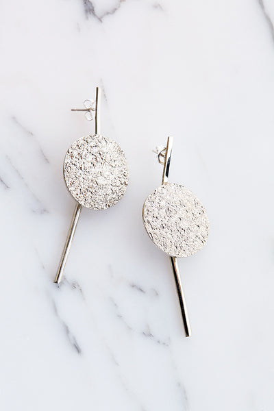 Quarry Francesca Long Earrings in White Bronze | Oroboro Store | Brooklyn, New York