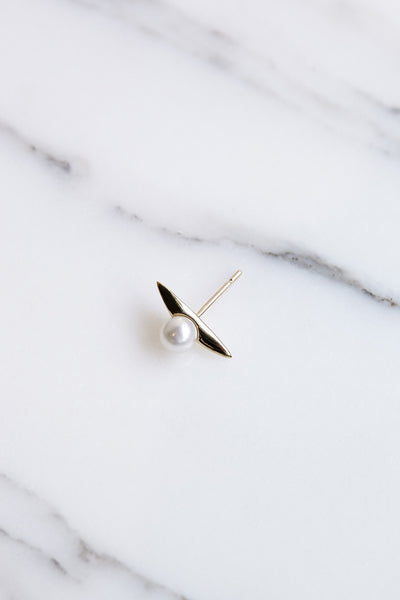 Quarry Naax Earrings in Gold/White Pearl | Oroboro Store | Brooklyn, New York