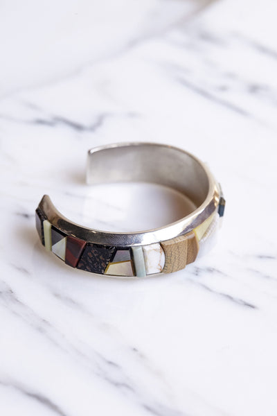 Ursa Major Pedra Inlay Cuff Sterling Silver + Mixed Stones | Oroboro Store | Brooklyn, New York