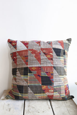 Counterpane Patchwork Pillow with Red Triangles | Oroboro Store | Brooklyn, New York