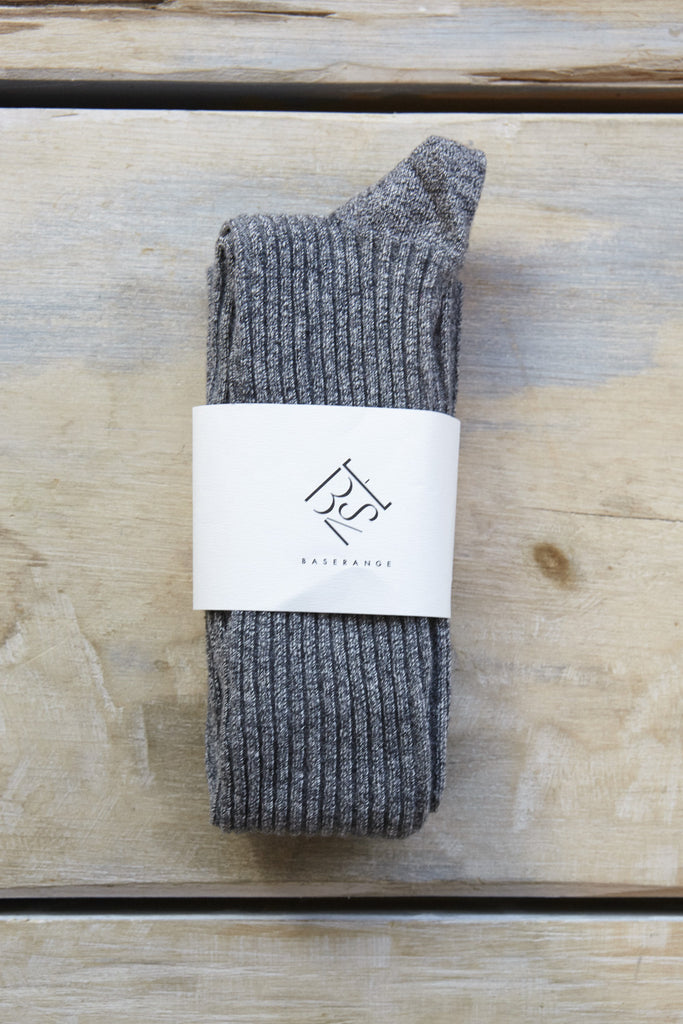 Base Range Overknee Socks in Grey Melange | Oroboro Store | Brooklyn, New York