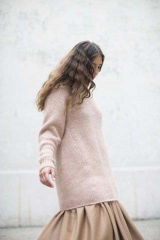 Ryan Roche Ribbed Oversized Basic Pullover in Rose | Oroboro Store | Brooklyn, New York