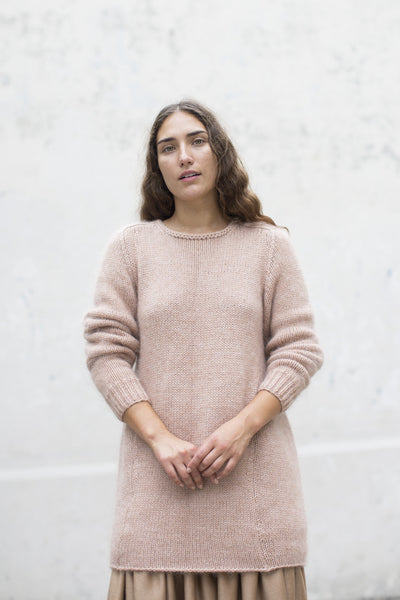 Ribbed Oversized Basic Pullover in Rose