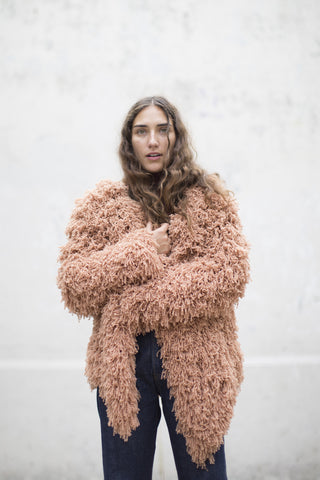 Ryan Roche Furry Cashmere Cardigan in Rose Sable | Oroboro Store | Brooklyn, New York