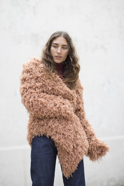 Furry Cashmere Cardigan in Rose Sable