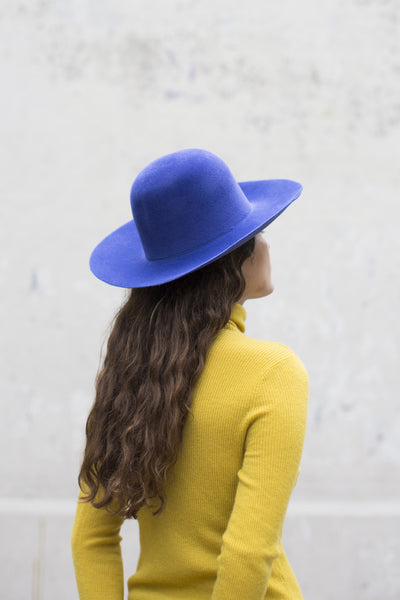 Wide Brim Dome Hat in True Blue
