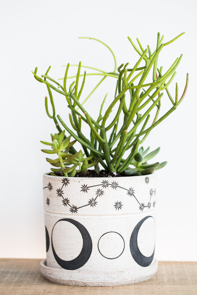 Stoneware Planter in Moon Phase and Constellation