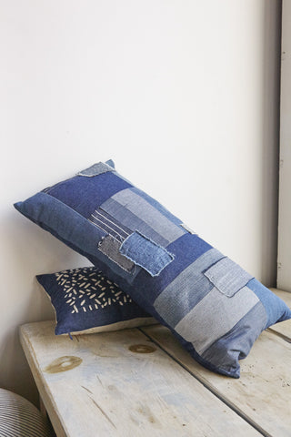 Patchwork Rectangle Pillow in Indigo