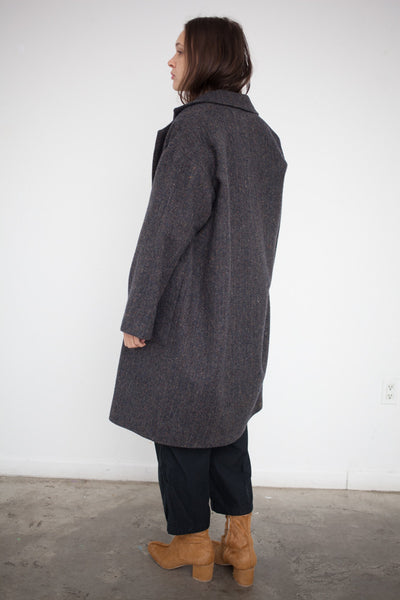Ulster Coat in Tweed Blue Gray