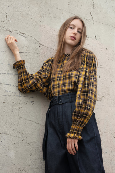 Tomorrowland Puff Sleeve Blouse in Mustard Check | Oroboro Store | New York, NY