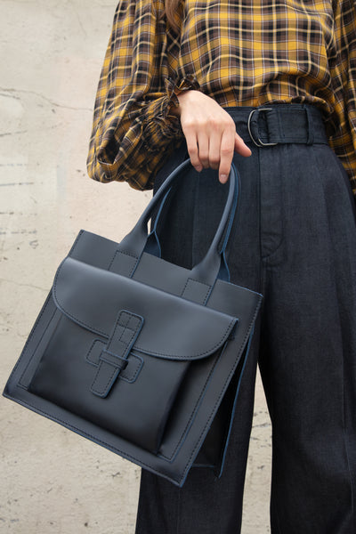 Agnes Baddoo Leather Bag in Navy | Oroboro Store | New York, NY