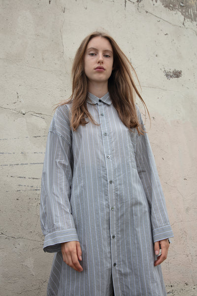 Tomorrowland Big Shirt Dress in Black and White Stripes | Oroboro Store | New York, NY