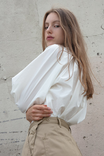 Tomorrowland Volume Gather Blouse in White | Oroboro Store | New York, NY