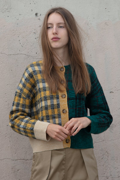 Tomorrowland Crew C/D Cardigan in Green and Yellow Check | Oroboro Store | New York, NY