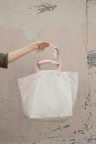 Carry-all in Natural Leather and Canvas