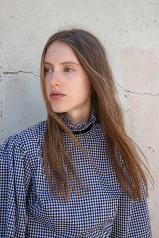 Batsheva Ribbon Blouse in Black & White Gingham | Oroboro Store | New York, NY