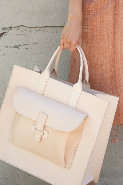 Large Leather Tote in Natural